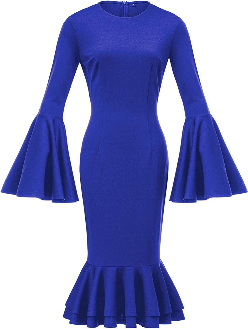 HongyuAmy Women's Bell Sleeve Fishtail Dresses Bodycon Cocktail Party Pencil Dress
