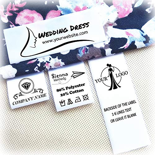 """120pcs Custom Personalized Sewing Hanging Satin Ribbon Labels Folding Name tag Washable Wash Care Label 1.2"""" x 2"""" (30mm x 50mm)"""