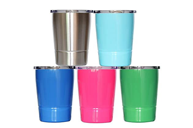 570a5c91bdb Colorful PoPo Kids Stainless Steel Cup Lovely Small Rambler Tumbler Sippy  Cup with Lid and Silicone Straw, 8.5 OZ (1, Natural Color)
