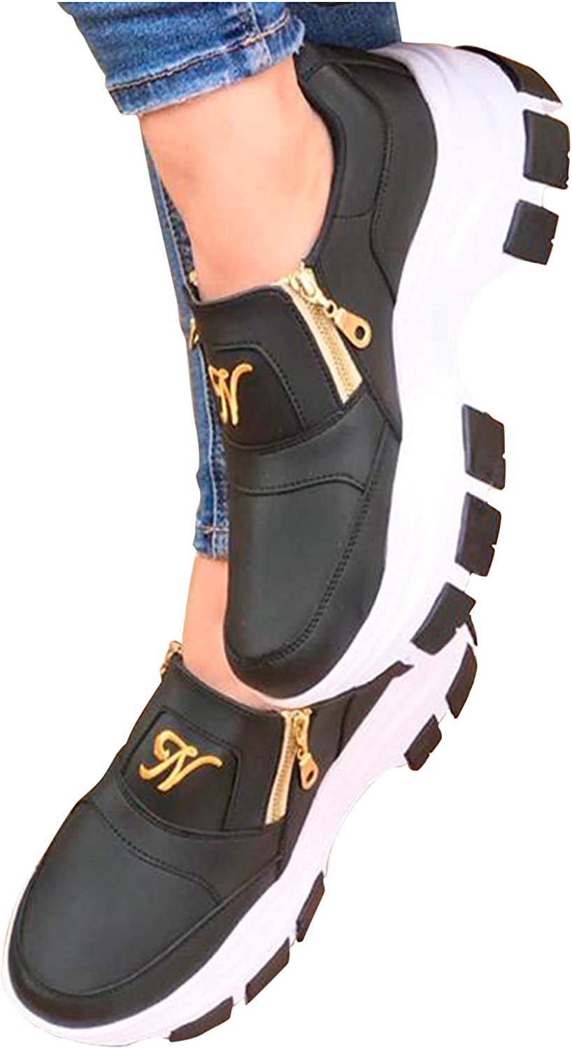 Women's Fashion Confortable Casual Platforms Increased Wedges Walking Sneakers Zipper Shoes