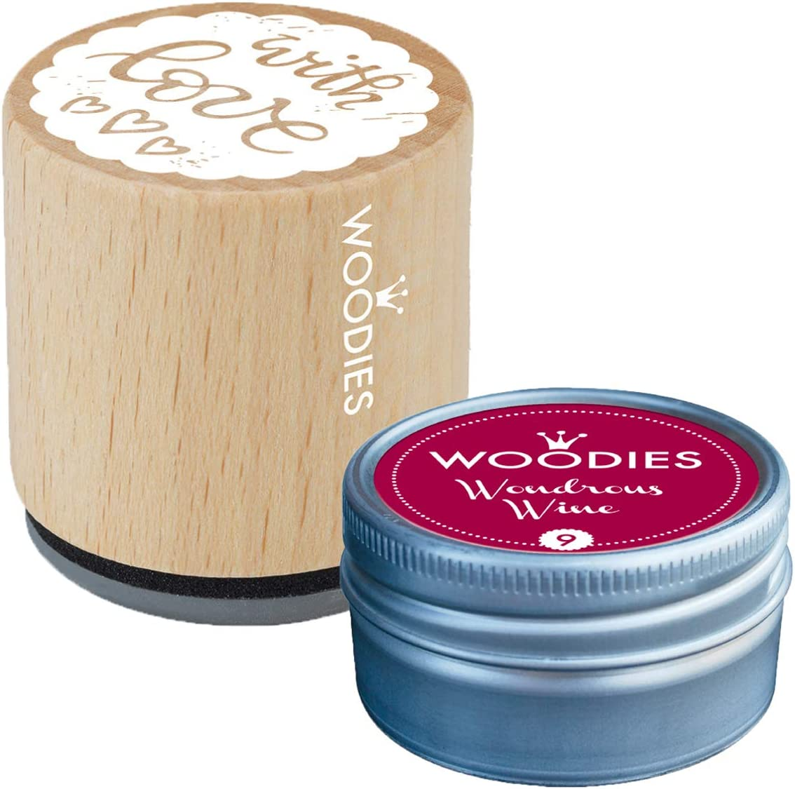 Woodies Love Stamp with Wondrous Wine Ink Ru Pad 2021 model Wooden Popular brand in the world Set