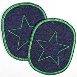Flicken zum aufbügeln Set retro Jeans Knieflicken dunkelblau mit grünem Stern 2 Aufbügler Bügelflicken 10 x 8 cm Hosenflicken Applikation Hosenflicken