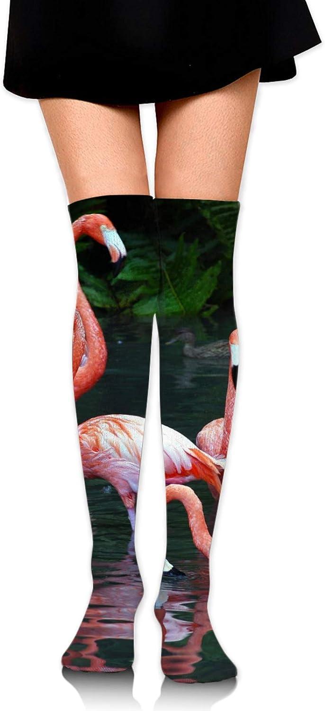 SWEET TANG Women Girl Knee High Socks Leg Warmer Dresses Knit High Stockings Cosplay Socks (Pink Red Flamingo)
