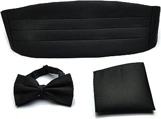 PenSee Formal Solid Cummerbund Pre-tied Bow Tie & Pocket Square & Cummerbund Set-13 Colors