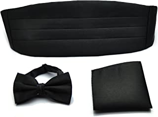 PenSee Mens Formal Solid Pre-tied Bow Tie & Pocket Square & Cummerbund Set - Various Colors