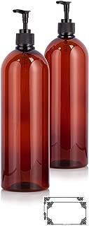 Amber 32 oz Large Boston Round PET Plastic Bottles (BPA Free) with Black Lotion Pump (2 pack) + Labels