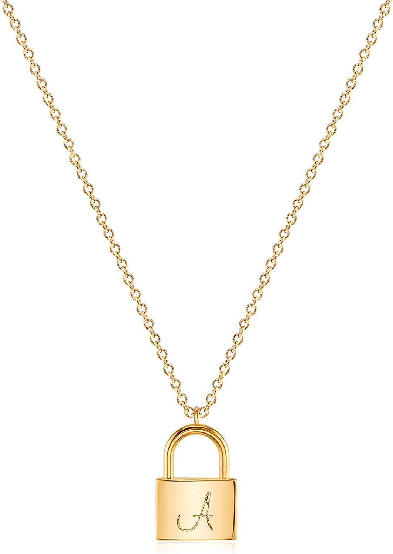 VACRONA Dainty Gold Lock Initial Necklace 18K Gold Plated Initial Padlock Layered Lock Necklace Personalized Monogram Old English Engraved Alphabet Symbol Custom Letter Necklace