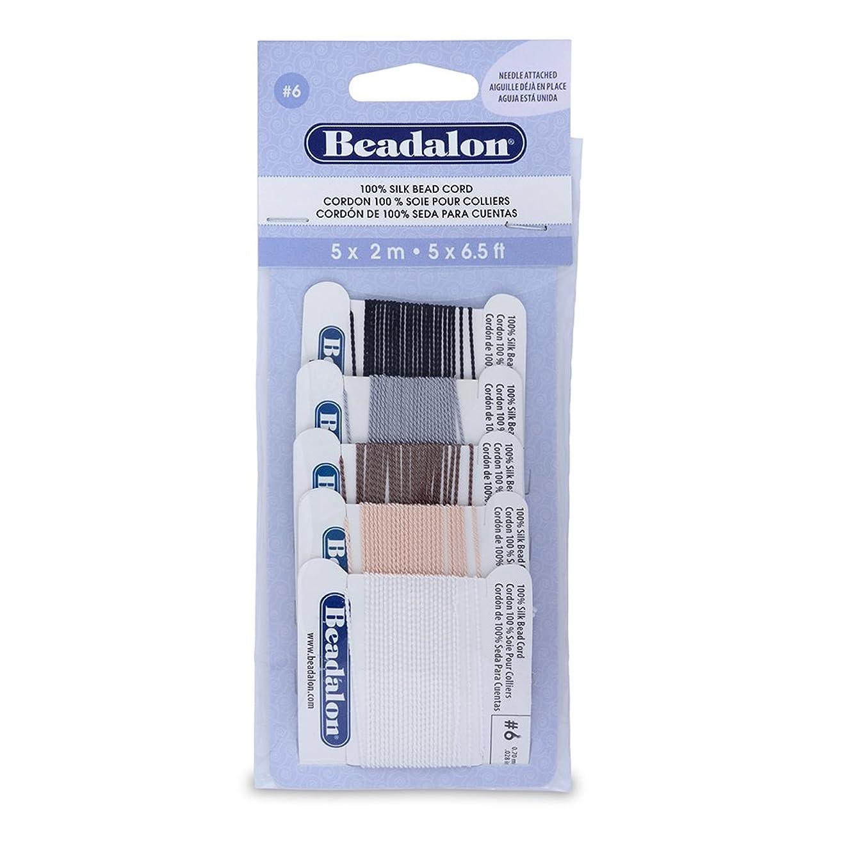 Beadalon Silk Thread, Black/White/Grey/Beige/Brown