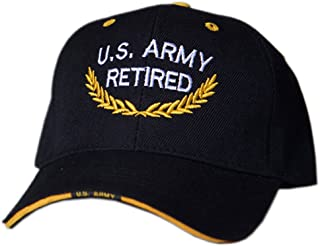 Officially Licensed Embroidered Army Retired Black Baseball Caps Hats
