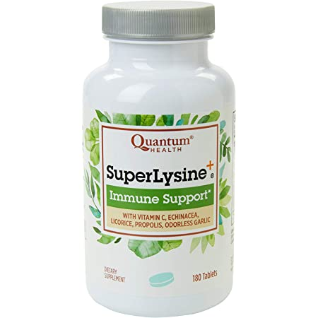 Quantum Health Super Lysine+ / Advanced Formula Lysine+ Immune Support with Vitamin C, Echinacea, Licorice, Propolis, Odorless Garlic (180 Tablets), Packaging may vary