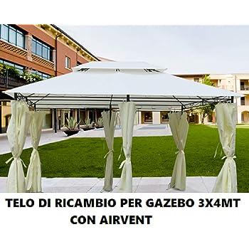 Mendler Telo di Ricambio Copertura Tetto per Gazebo Cadice Poliestere 3x4m Avorio