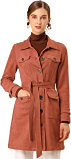Women's Tie Waist Single Breasted Long Sleeves Faux Suede Trench Coat