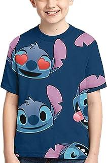guoweiweiB Camisetas de Manga Corta para niño, Lilo-Stitch Short-Sleeved T-Shirt Double Sided Printing T-Shirt Boys T-Shirts