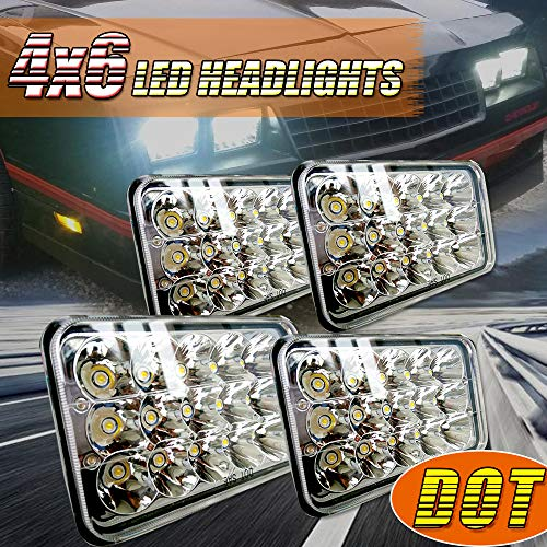 EDITOP (4pcs) 4x6 Inch LED Headlights Rectangular Replace for H4651 H4652 H4656 H4666 H6545 Peterbil 379 Kenworth T600 T800 W900 Freightliner for Ford Probe Chevrolet Oldsmobile Cutlass
