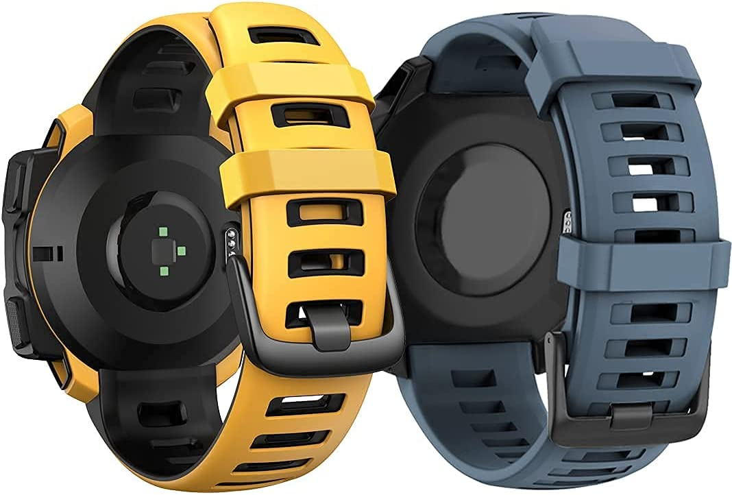 ANCOOL Compatible with Garmin Instinct Bands Navy Blue and Straw Yellow Bundle