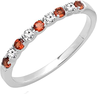 Dazzlingrock Collection 10K Round White Diamond & Red Garnet Ladies Anniversary Wedding Band Stackable Ring, White Gold