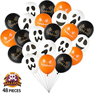 SUYEPER Halloween Ghost and Pumpkin Balloons 6 Styles 12 Inch Latex Balloons for Halloween Party Decoration Supplies (48PCS)