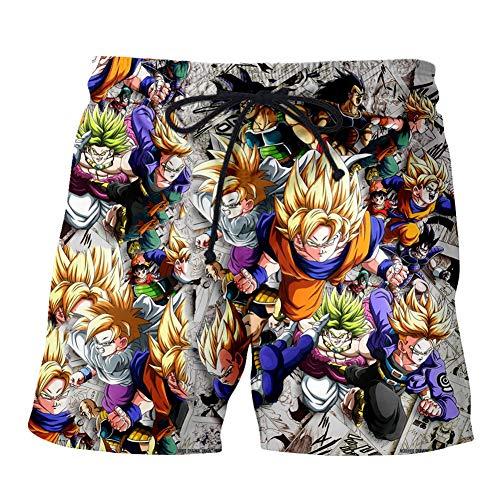 OJKYK Herren Badehose 3D Dragon Ball Druck Kurze Hose Shorts Freizeithose Jogginghose Sporthose Trainingshose Jogger Sweatpants Badeshorts,L