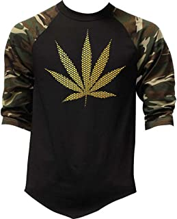 Men's Gold Foil Polka Dot Weed Leaf Camo Raglan Baseball T-Shirt Camo