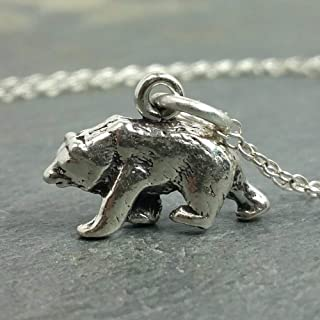 Tiny Bear Charm Necklace - 925 Sterling Silver, 18
