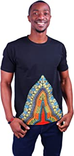 MCYSKK Men's African Fashion Short Sleeve T-Shirt Tops Dashiki Shirts Black