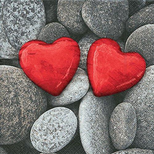 20 Servietten Love Stones – Steine der Liebe/Herzen/rot 33x33cm