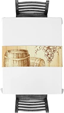 BetterDay Cotton Linen Table Runner Drawing Grape Wine Barrel 16x72 Inch Burlap Table Runners for Party Wedding Dining Farmho