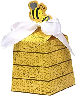 24 Ct Cute Girl Boy Baby Shower Favor Yellow Honey Bee Paper Party Box Beehive Bowknot Candy Gift Wrapping Gender Reveal Birthday Wedding Decoration