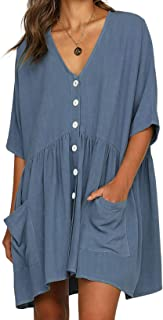 Women V-Neck Button Down Half Sleeve Causal Plain Loose Short Shift Simple Tunic Dress with Pockets
