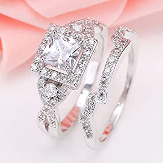 Lzz 925 Sterling Silver White Topaz Princess Square Cut Cubic Zirconia Ring Set Fashion Lady Halo Ring Wedding Jewelry Size 6-10 (US Code 10)