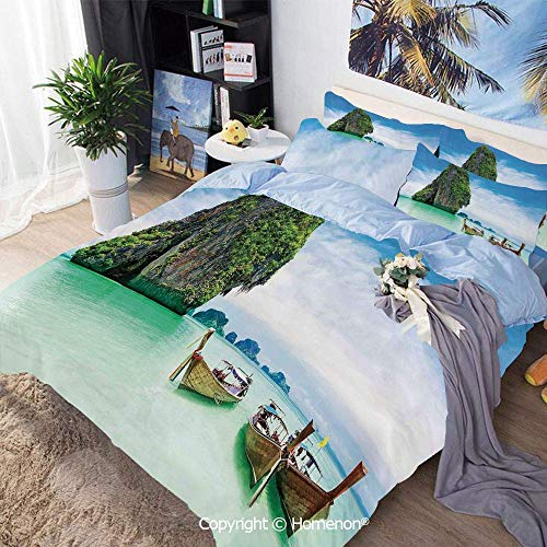 Qoqon 3 Piece Duvet Cover Set Bedding Set,Limestone Rock in The Sea with Boats Tranquil Heaven Coast with Horizon Off Nature Photo,for Bedroom Guest Room,Multi,Duvet Cover Set