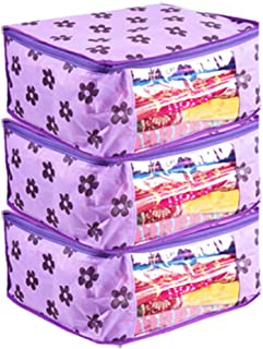 PrettyKrafts Saree Cover Set of 3 Large Flower Prints/Wardrobe Organiser/Clothes Bag_Purple