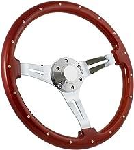 Forever Sharp 14 Inch Slotted 3 Spoke Steering Wheel Riveted Light Wood Grip