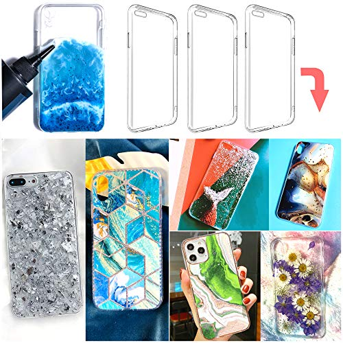 3 pcs epoxy Resin Personalized Mobile Phone case DIY Silicone case for iPhone 6/7/8(Note: This Product is not Resin Mold, It's a Phone case with Special Groove Design)