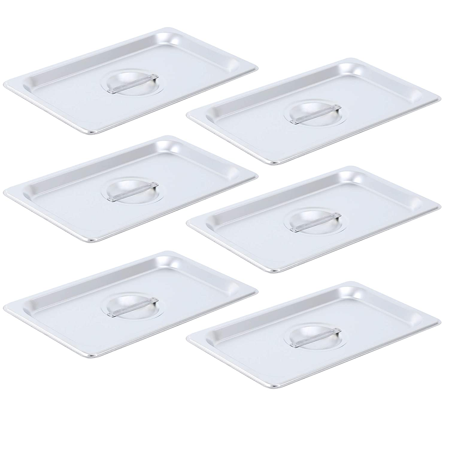 Aplancee 6Pcs Steam Table Pan Lid of Stainless Steel with Handle 1/3 Size for Food Cover