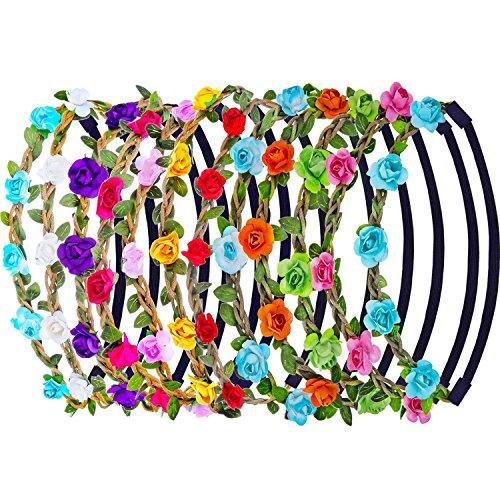 ZARRS Blumen Stirnbänder,12er Pack Stirnband Kopfband mit Justierbaren Elastischen Band Farbig Haarband Damen Mädchen für Party Hochzeit Strand