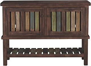 Signature Design by Ashley - Mestler Rustic Console Sofa Table, Brown/Multi Colored Shelves