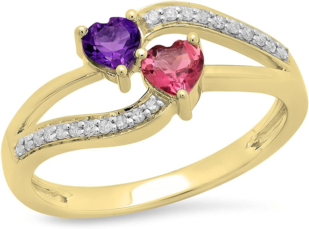 Dazzlingrock Collection 10K Gold Heart Cut Amethyst & Tourmaline & Round Cut White Diamond Bridal Double Heart Promise Ring