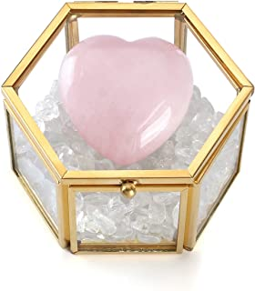 Sunligoo Healing Crystals Gift Kit in Glass Jewelry Box Home Desk Decor with Rose Quartz Puff Heart Stone Clear Quartz Crystal Crushed Tumbled Chips Bulk