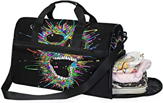 Travel Tote Luggage Weekender Duffle Bag, Colorful Skull Black Large Canvas shoulder bag with Shoe Compartment