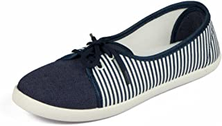Asian shoes LR-82 Navy Blue White Canvas Women Shoes 5UK/Indian