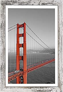 Q.Hou 11x17 Picture Frames Wood Patten Distressed Whiten One Pack, Wall Hanging, Smooth Molding & Acrylic Cover, Great for...
