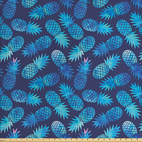 Ambesonne Modern Fabric by The Yard, Pineapple Pattern Exotic Fruit in Digital Watercolor Illustration, Decorative Fabric for Upholstery and Home Accents, 1 Yard, Night Blue