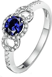 ButiRest - Anello in oro bianco 750, 18 carati con 4 denti taglio rotondo 0,6 carati zaffiro blu VS e diamante 0,17 carati