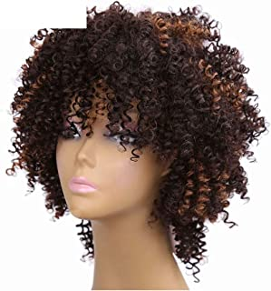 8inch Curly Synthetic Hair Afro Wigs With Short Ombre Brown Jerry Curl Black Wigs For Women-in Synthetic None,Ombre,8inches