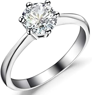 Classical 1ct 925 Sterling Silver Solitaire Ring Engagement Wedding