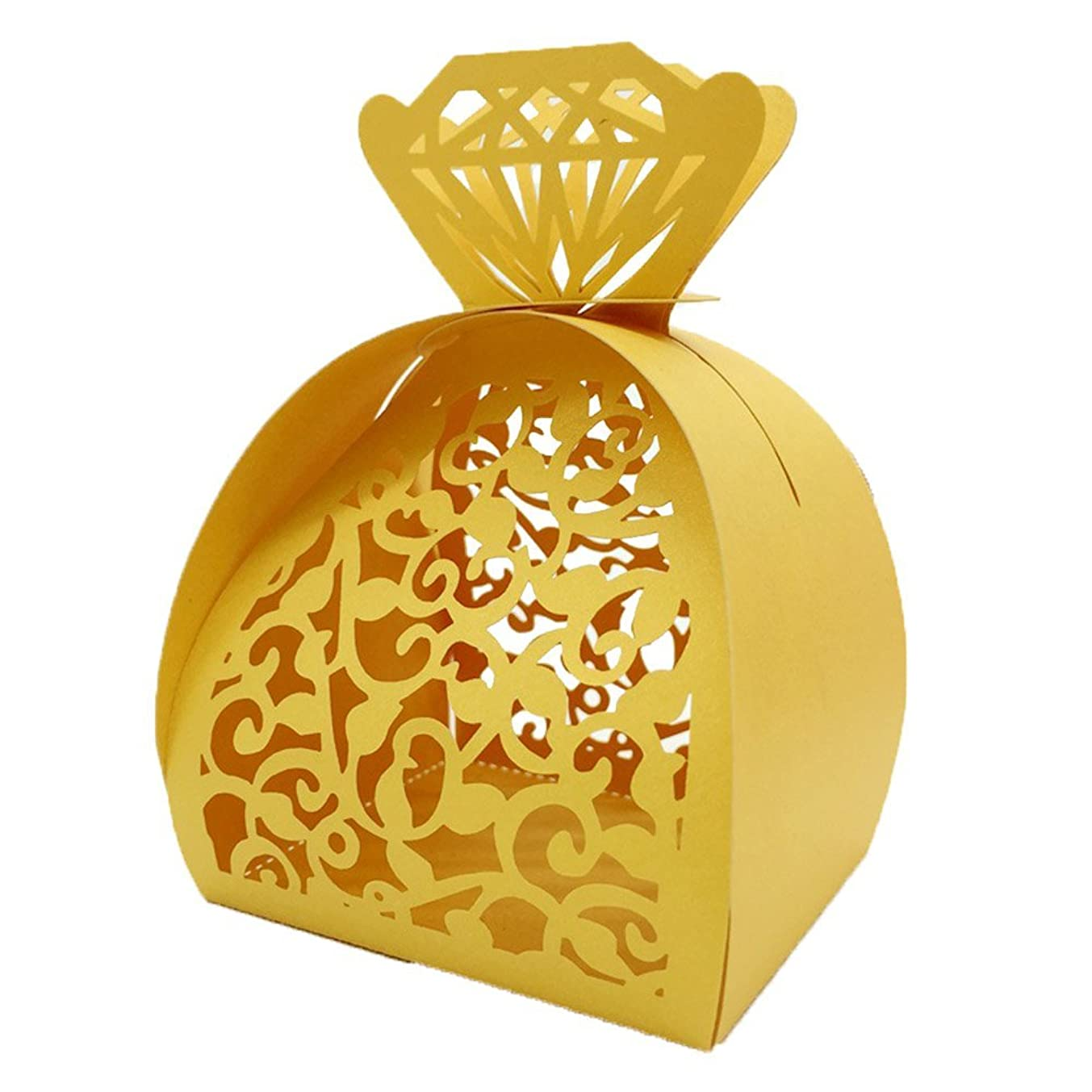 WOMHOPE? 50 Pcs - Jewelry Lock Vine Hollow Laser Cut Roses Flowers Wedding Candy Box Chocolate Candy Wrappers Holders Party Favors for Bridal Shower,Wedding,Party,Birthday Gift (Gold)