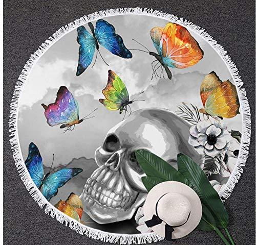 Vanzelu gotische tapijt bloemen ronde strand handdoek zwart en wit schedel handdoek zonneblok deken kleurrijke vlinder picknick mat 150x150cm buiten