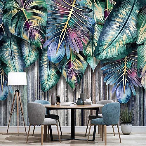 Papel tapiz fotográfico 3D, murales de hojas de plantas tropicales creativas, sala de estar, TV, sofá, dormitorio, estudio, decoración del hogar, papeles de pared-300x210cm