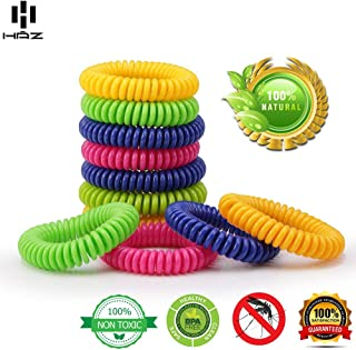 Haz Mosquito Repellent Bracelet – Tick Repellent Wristband – Natural Insect Repellent for Individual Wear – Pack of 14 Bug Bands for Adults & Children – 100% Natural & Non-Toxic Deet-Free Bands